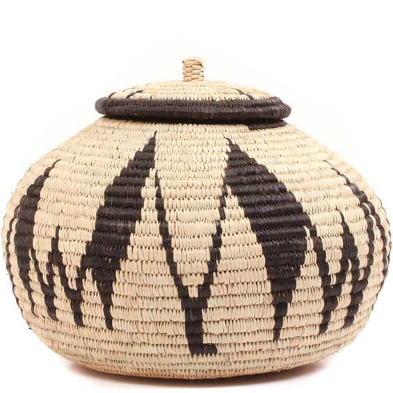 African Basket - Zulu Ilala Palm - Ukhamba -  7.5 Inches Tall - #64104