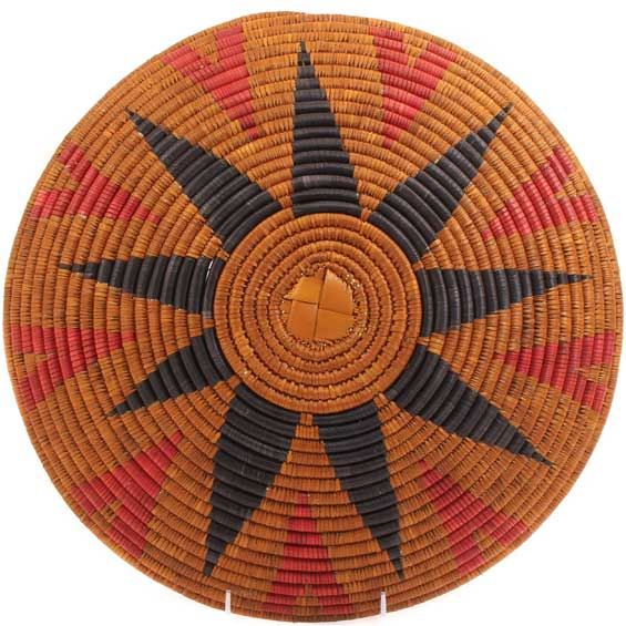 African Basket - Zulu Ilala Palm - Shallow Bowl - 14.75 Inches Across - #64404