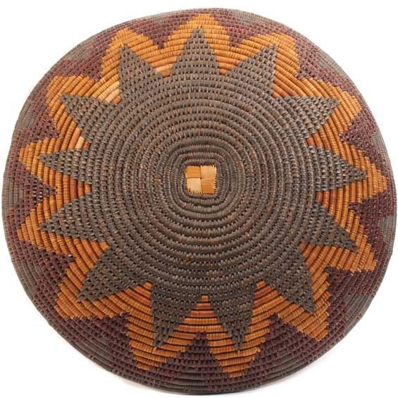 African Basket - Zulu Ilala Palm - Shallow Bowl - 17.25 Inches Across - #64428