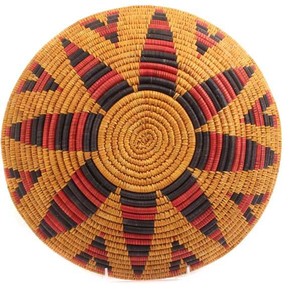 African Basket - Zulu Ilala Palm - Shallow Bowl - 12.5 Inches Across - #65099