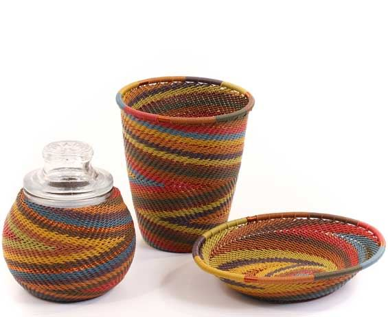 African Telephone Wire Baskets - Apothecary Set - 3 Pieces - #59520