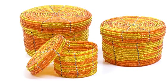 African Basket - Kenya - Set of 3 Round Nesting Boxes - #22014