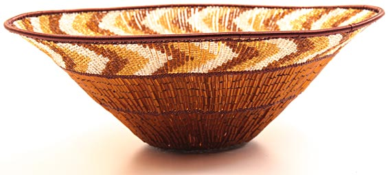 "African Basket - Zulu Copper Beaded Basket - Large Wide Bowl -  9.75"" Across - #25096"