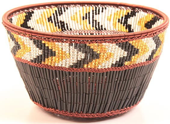 "African Basket - Zulu Copper Beaded Basket - Small Deep Bowl -  4.5"" Across - #25108"