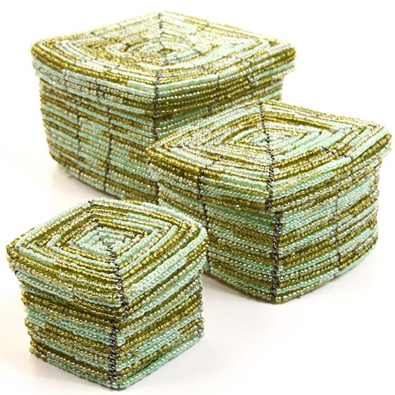 African Basket - Kenya - Set of 3 Square Nesting Boxes - #26367