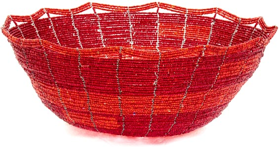 African Basket - Kenya - Beaded Bowl, Large -  9.5 Inches Across - #35925