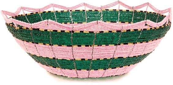 African Basket - Kenya - Beaded Bowl, Large - 10 Inches Across - #38819