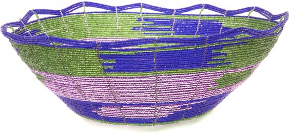 African Basket - Kenya - Beaded Bowl, Large - 10.5 Inches Across - #48874