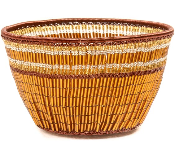 "African Basket - Zulu Copper Beaded Basket - Small Deep Bowl -  4.5"" Across - #50612"