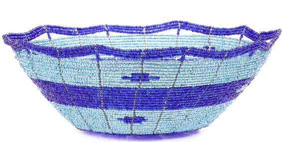 African Basket - Kenya - Beaded Bowl, Medium -  7.75 Inches Across - #54536