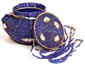 African Basket - Kenya - Small Beaded Round Purse -  4 Inches Across - #5489
