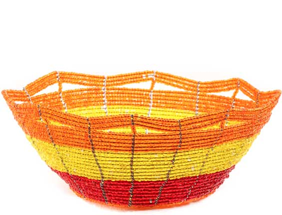African Basket - Kenya - Beaded Bowl, Small -  5.5 Inches Across - #60696