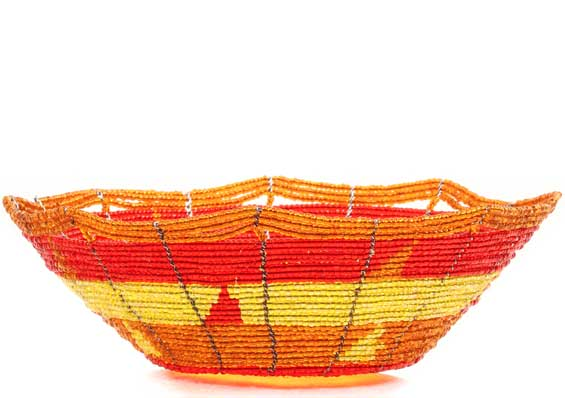 African Basket - Kenya - Beaded Bowl, Small -  6 Inches Across - #68203