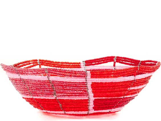 African Basket - Kenya - Beaded Bowl, Small -  6 Inches Across - #68204