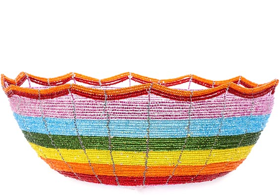 African Basket - Kenya - Beaded Bowl, Large - 10.25 Inches Across - #76026