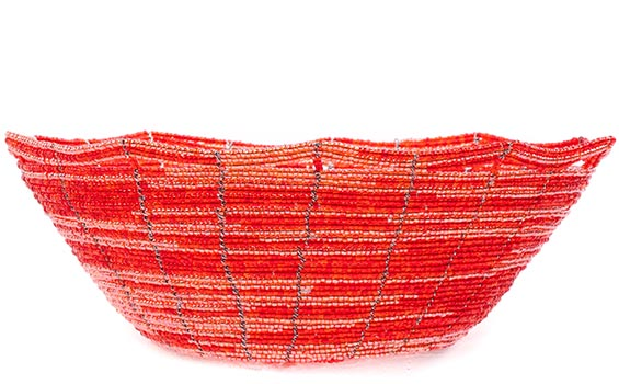 African Basket - Kenya - Beaded Bowl, Medium -  7.5 Inches Across - #76029