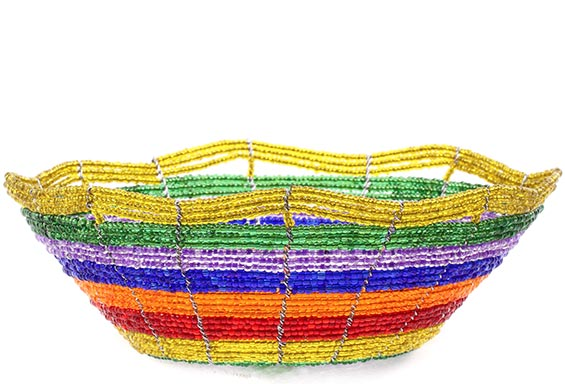 African Basket - Kenya - Beaded Bowl, Small -  5.75 Inches Across - #76032