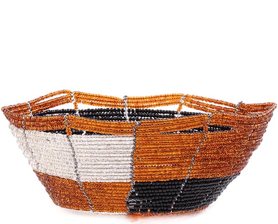 African Basket - Kenya - Beaded Bowl, Small -  5.25 Inches Across - #76033
