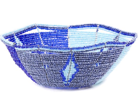 African Basket - Kenya - Beaded Bowl, Small -  5.75 Inches Across - #77859