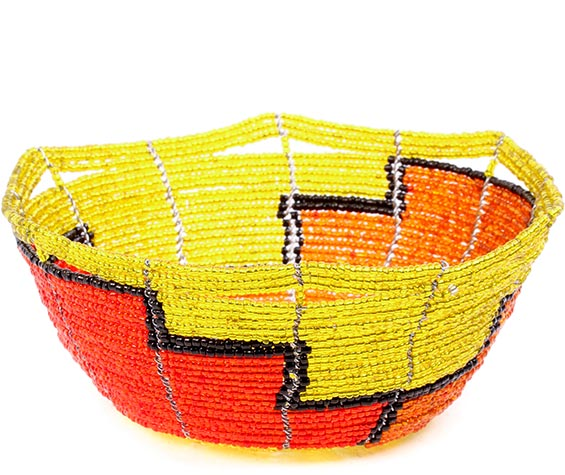 African Basket - Kenya - Beaded Bowl, Small -  5.5 Inches Across - #77862