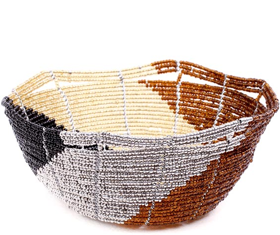 African Basket - Kenya - Beaded Bowl, Small -  5.5 Inches Across - #77863