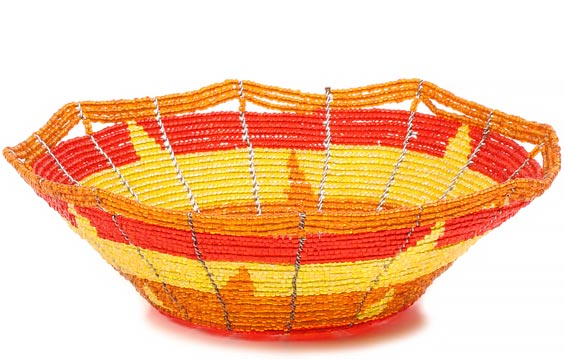 African Basket - Kenya - Beaded Bowl, Small -  6 Inches Across - #80421