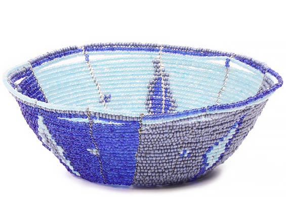 African Basket - Kenya - Beaded Bowl, Small -  6 Inches Across - #80423