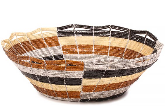 African Basket - Kenya - Beaded Bowl, Large - 10.25 Inches Across - #80427