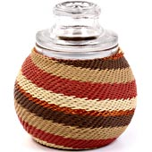 African Zulu Wire - Small Wrapped Glass Jar - #7656