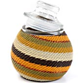 African Zulu Wire - Small Wrapped Glass Jar - #7658