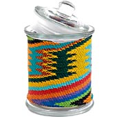 African Zulu Wire - Wrapped Glass Jar - #9975