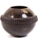 African Pottery - Zulu Amancishane Pot - 3.5 Inches Across - #54902