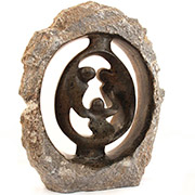 Shona Stone Sculpture - Emerging Family of 3 - 17.75 Inches Tall - #SS024A