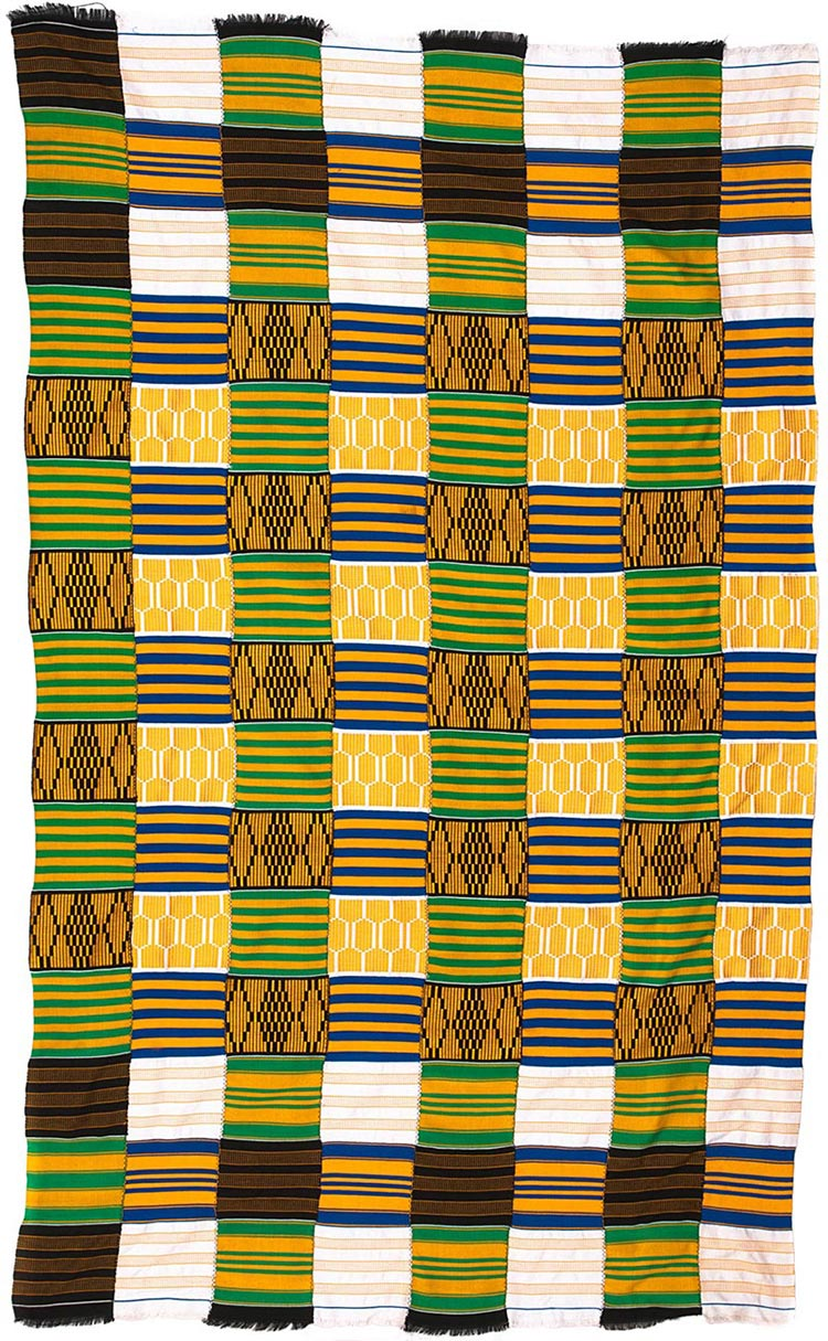 Handmade African Textile - Kente Cloth - 37 Inches Wide x 34 Inches Tall - #7765
