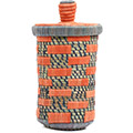 African Basket - Burundi Raffia Coil Weave Canister - 9.75 Inches Tall - #72159
