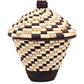 African Basket - Burundi Raffia Coil Weave Canister - 8.75 Inches Tall - #73085