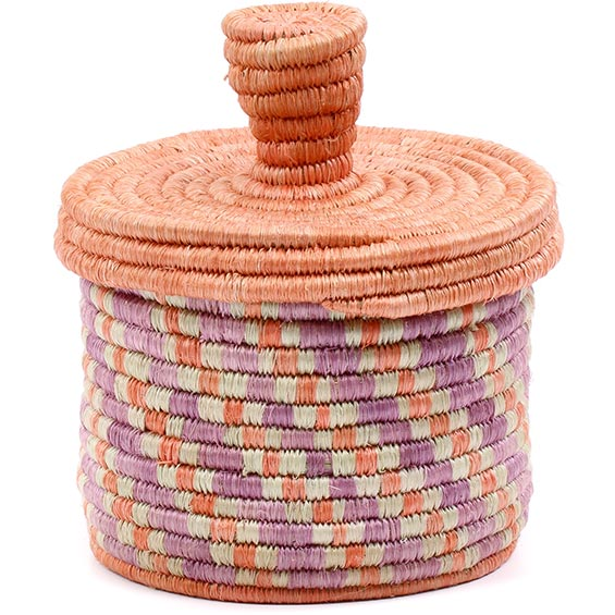 African Basket - Burundi Sisal Coil Weave Canister - 4.75 Inches Tall - #76469
