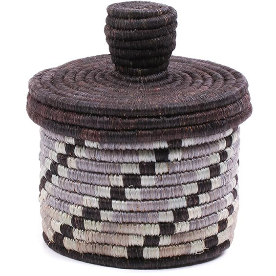African Basket - Burundi Sisal Coil Weave Canister - 4.75 Inches Tall - #76471