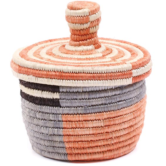 African Basket - Burundi Sisal Coil Weave Canister - 4.75 Inches Tall - #76473
