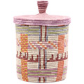 African Basket - Burundi Sisal Coil Weave Canister - 9.75 Inches Tall - #76516