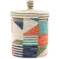 African Basket - Burundi Sisal Coil Weave Canister - 9.75 Inches Tall - #76519