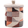African Basket - Burundi Sisal Coil Weave Canister - 9.5 Inches Tall - #76525