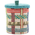 African Basket - Burundi Sisal Coil Weave Canister - 9.75 Inches Tall - #76528
