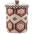 African Basket - Burundi Sisal Coil Weave Canister - 9.75 Inches Tall - #76533