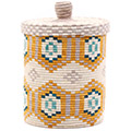 African Basket - Burundi Sisal Coil Weave Canister - 11 Inches Tall - #76534