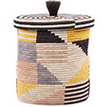 African Basket - Burundi Sisal Coil Weave Canister - 9.75 Inches Tall - #76537