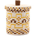African Basket - Burundi Sisal Coil Weave Canister - 9.75 Inches Tall - #76546