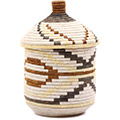 African Basket - Burundi Sisal Coil Weave Canister - 12 Inches Tall - #76549