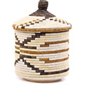 African Basket - Burundi Sisal Coil Weave Canister - 11 Inches Tall - #76552