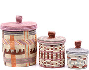 African Basket - Burundi Sisal Coil Weave Canisters - Set of 3 Nesting - #77094